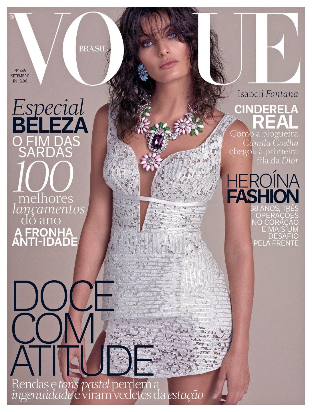 A top Isabe Fontana veste Tufi Duek na capa da Vogue setembro. Design: Eduardo Pombal, Modelagem e desenvolvimento: Christian Monteiro e Denise Mazine