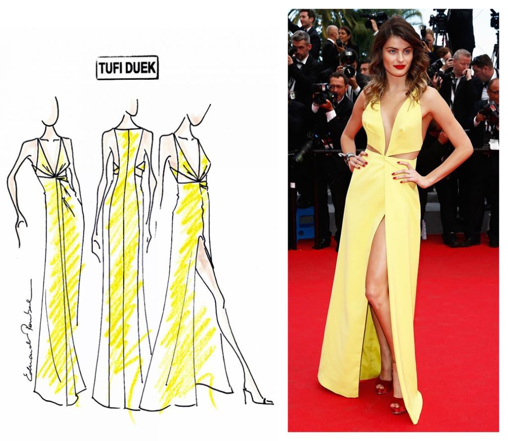 A top Isabeli Fontana veste Tufi Duek no Festival de cinema Cannes 2014. Design: eduardo Pombal Modelagem: Christian Monteiro